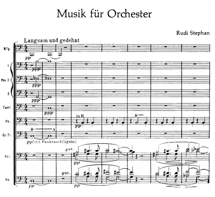 First bars of Stephan's Musik fur Orchester