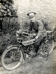 Unidentified motorcycle dispatch rider, 1915, courtesy British Library H. D. Girdwood collection