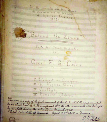 The first page of Cecil Coles' 'Cortege', circa 1918