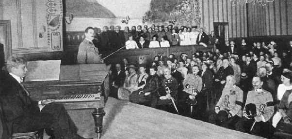 Fritz Kreisler gives a Red Cross benefit concert to Austrian soldiers before going to the Front, Autumn 1914
